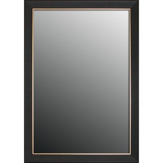 Etched Black Walnut Pattern Gold Trim Mirror (28x40)