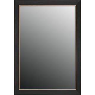 Etched Black Walnut Pattern Gold Trim Mirror (34x44)