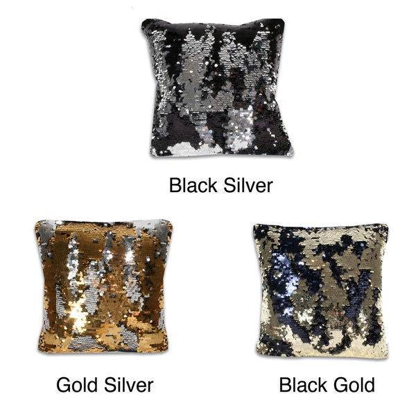 Reversible 18-inch Square Sequin Pillow