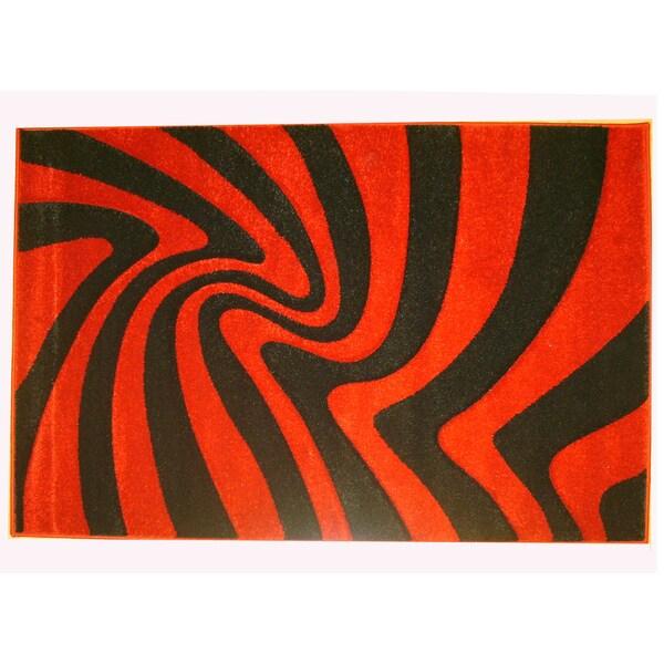 Modern Deco Red and Black Zebra 'Moonstruck' Rug (7'9 x 10'5)