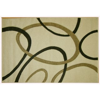 Modern Deco Ivory Circles Rug (7'9 x 10'5)