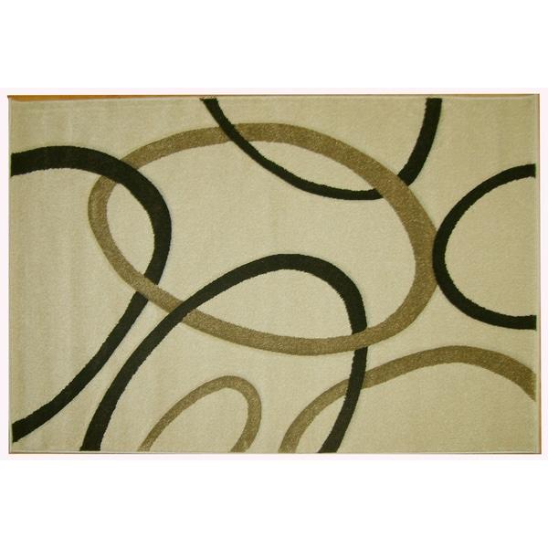 Modern Deco Ivory Circles Rug (5'2 x 7'2)