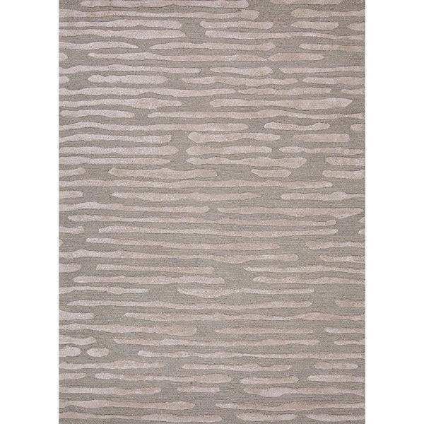 Hand-Tufted Ice-Blue Modern Geometric Wool/Silk Rug (8' x 11')