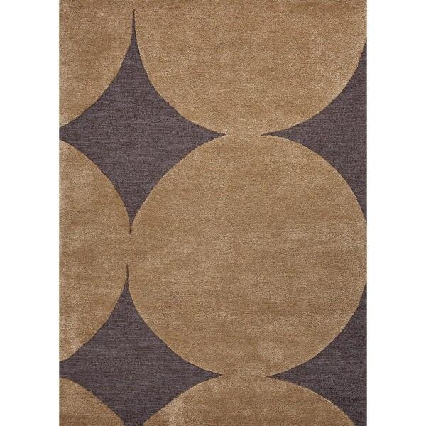 Hand-tufted Modern Geometric Black Coffee Wool/ Silk Rug (2' x 3')