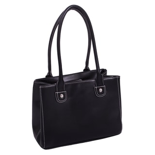 Parinda Women's Black Faux-Leather Tote Handbag with Magnetic Top Closure