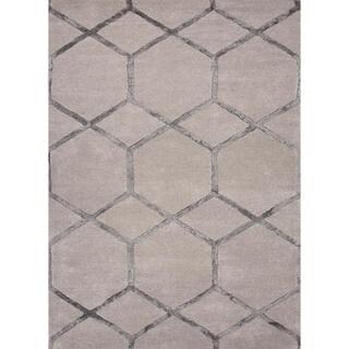 Hand-tufted Modern Geometric Wool/ Silk Rug (9'6 x 13'6)