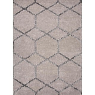 Hand-Tufted Ashwood Modern Geometric Wool/Silk Rug (8' x 11')