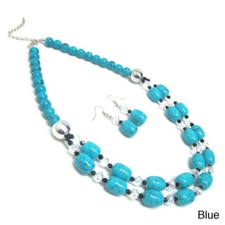 Layered Ceramic Bead and Crystal Necklace and Earrings Jewelry Set