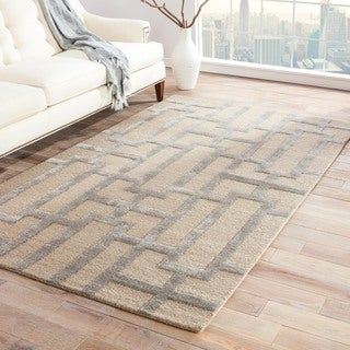 Hand-tufted Modern Geometric Wool/ Silk Rug (9'6 x 13'6)