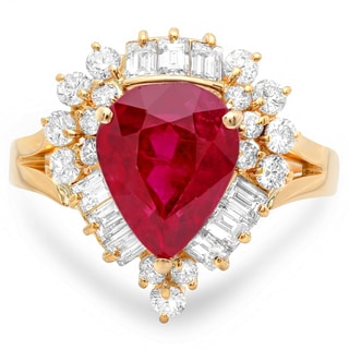 Roberto Martinez 18k Gold Pear-cut Ruby and 1 1/4ct TDW Diamond Estate Ring (G-H, SI1)