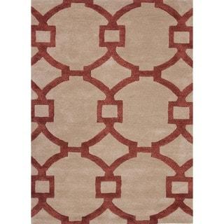 Hand-Tufted Red/Beige Modern Geometric Wool/Silk Rug (5' x 8')