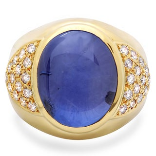 Roberto Martinez 18k Gold Men's Blue Star Sapphire and 1ct TDW Diamond Ring (G-H, SI1-SI2)