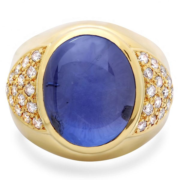 Pre-owned Roberto Martinez 18k Gold Men's Blue Star Sapphire and 1ct TDW Diamond Ring (G-H, SI1-SI2)