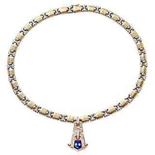 Roberto Martinez Art Deco14k Gold Sapphire, Ruby and 1 1/3ct TDW Diamond Necklace (H-I, SI1-SI2)