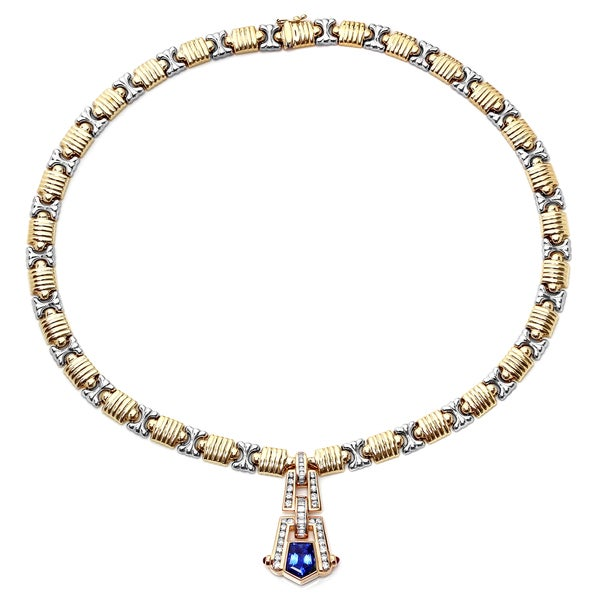 Pre-owned Roberto Martinez Art Deco14k Gold Sapphire, Ruby and 1 1/3ct TDW Diamond Necklace (H-I, SI1-SI2)
