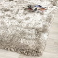Silken Sable Brown Shag Rug (5' Square)