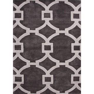 Hand-tufted Modern Geometric Wool/ Silk Rug (8' x 11')