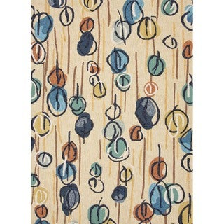Abstract Blue Indoor/ Outdoor Rug (3'6 x 5'6)