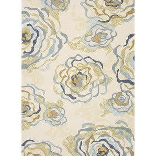 Floral Blue Indoor/ Outdoor Runner (2'6 x 8')