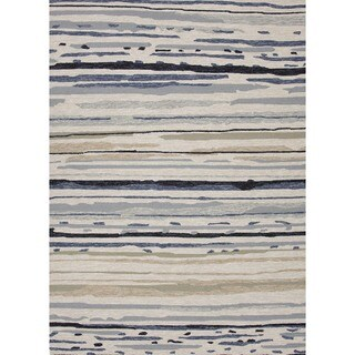 Abstract Gray/ Black Indoor/ Outdoor Rug (2' x 3')