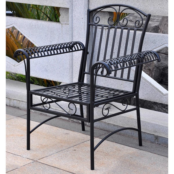 International Caravan Tropico Black Antique Patio Chairs (Set of 2)