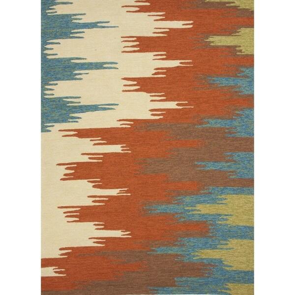 Abstract Red/ Orange Indoor/ Outdoor Runner (2'6 x 8')