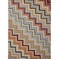 "Striped Red/Orange Indoor/Outdoor Polypropylene Rug (5' x 7'6"")"