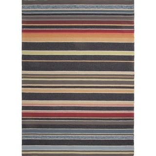 Stripe Blue Indoor/ Outdoor Runner (2'6 x 8')