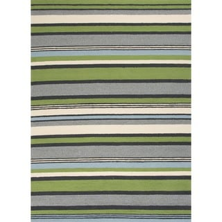 Stripe Green Indoor/ Outdoor Rug (3'6 x 5'6)