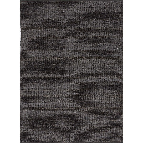 Natural Solid Hemp/ Jute Gray/ Black Woven (8' x 10')