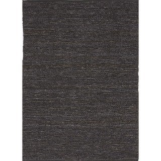 Natural Solid Hemp/ Jute Gray/ Black Woven Rug (5' x 8')