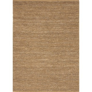 Natural Solid Hemp/ Jute Gold/ Yellow Woven Rug (8' x 10')