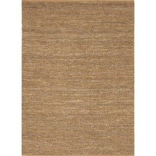 Natural Solid Hemp/ Jute Gold/ Yellow Woven Rug (3'6 x 5'6)