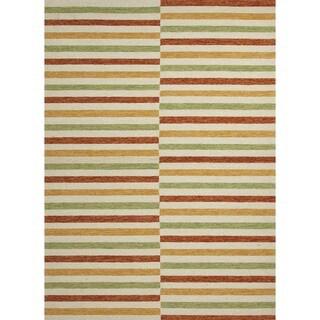 Stripe Red/ Orange Indoor/ Outdoor Rug (7'6 x 9'6)