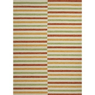 Stripe Red/ Orange Indoor/ Outdoor Rug (5' x 7'6)