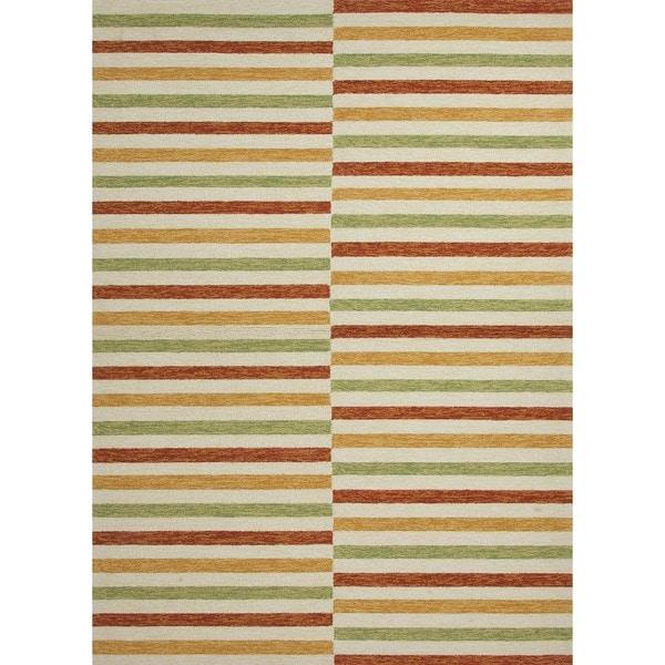 Stripe Red/ Orange Indoor/ Outdoor Rug (5' x 7'6)