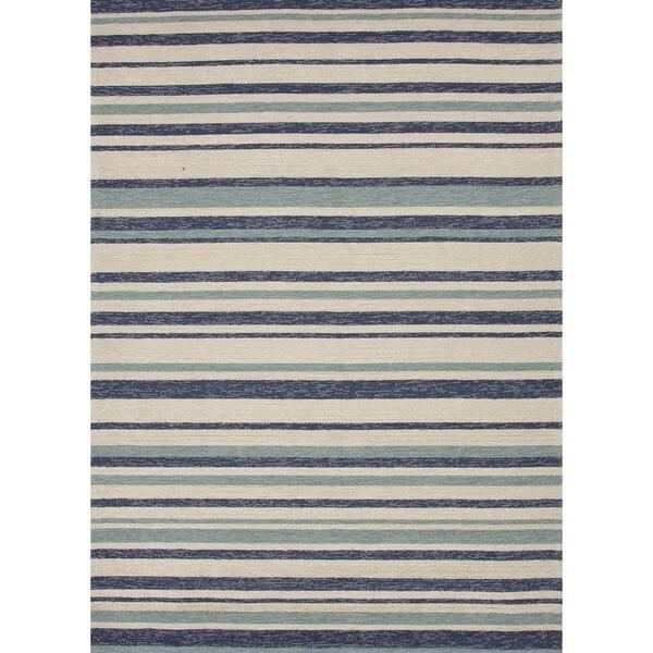 Stripe Blue Indoor/ Outdoor Rug (7'6 x 9'6)