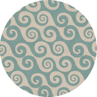 Coastal Blue Indoor / Outdoor Round Rug B43 (8' x 8')