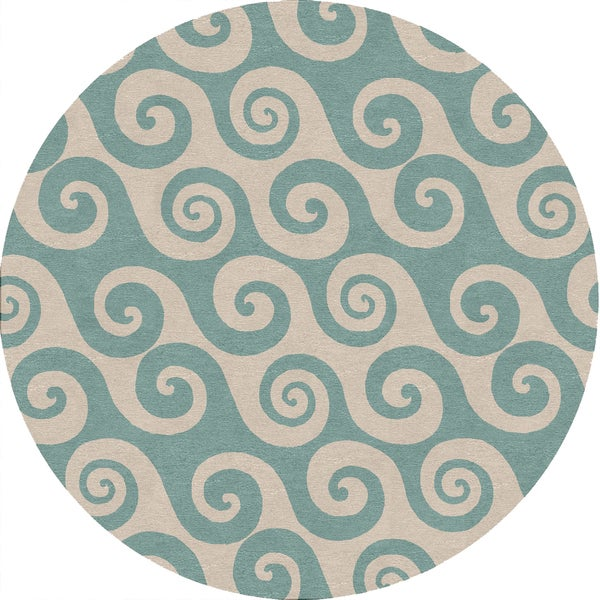 Coastal Blue Indoor / Outdoor Round Rug B43 (8' x 8')
