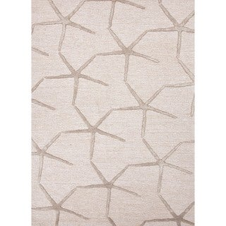 Transitional Ivory/ White Wool/ Silk Tufted Rug (3'6 x 5'6)