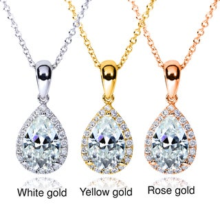 Annello 14k Gold Pear Moissanite and 1/8ct TDW Diamond Necklace (G-H, I1-I2)