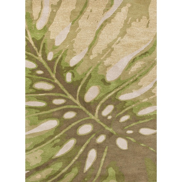 Transitional Coastal Green Wool Tufted Rug (3'6 x 5'6)