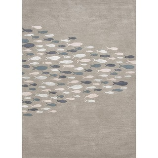 Transitional Coastal Blue Wool/ Silk Tufted Rug (5' x 8')