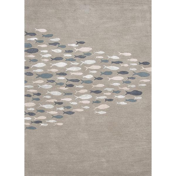 Transitional Coastal Blue Wool/ Silk Tufted Rug (5' x 8')