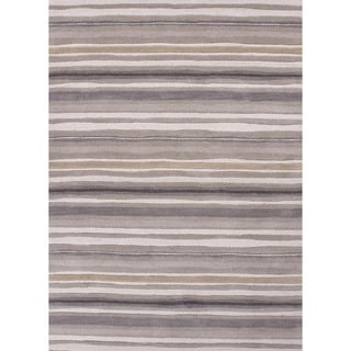 Transitional Stripe Gray/ Black Wool Tufted Rug (8' x 11')
