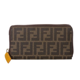 Fendi Tobacco Zucca/ Mustard Leather Continental Wallet