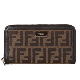 Fendi Tobacco Zucca/ Black Leather Zip Around Wallet