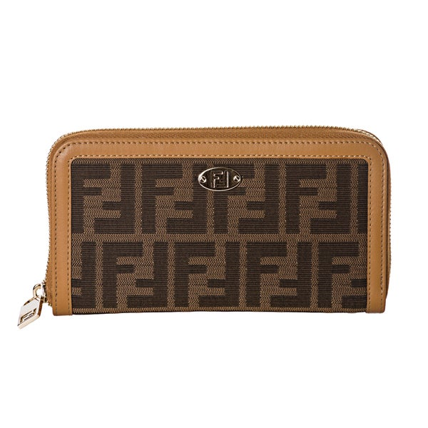 Fendi Tobacco Zucca/ Tan Leather Zip Around Continental Wallet