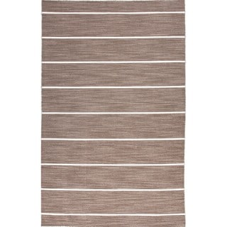 Handmade Flat Weave Stripe Beige/ Brown Wool Rug (9' x 12')