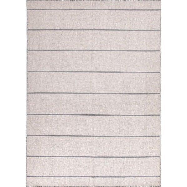 Handmade Flat Weave Stripe Ivory/ White Wool Rug (10' x 14')